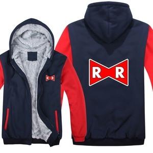 Image 2 - Dragon Ball Z Red Ribbon Army hoodies Cartoon Jacket Thicken Hoody Zipper Winter Fleece Dragon Ball Z Sweatshirt