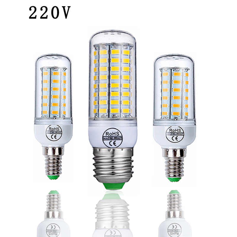 LED Lamp E27 E14 LED Bulb SMD5730 220V Corn Bulb 24 36 48 56 69 72LEDs Chandelier Candle LED Light For Home Light