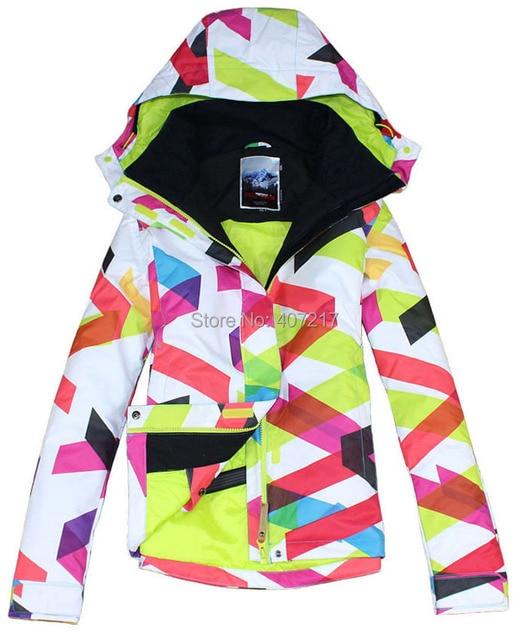 2f722ad382f 2017 Nuevo gsou snow mujer curvas chaqueta de esquí chaqueta impermeable y  transpirable señoras patrón geométrico