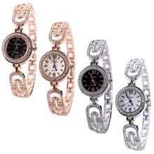 Women's Rhinestone Bracelet Stainless Steel Round Dial Quartz Analog Wrist Watch