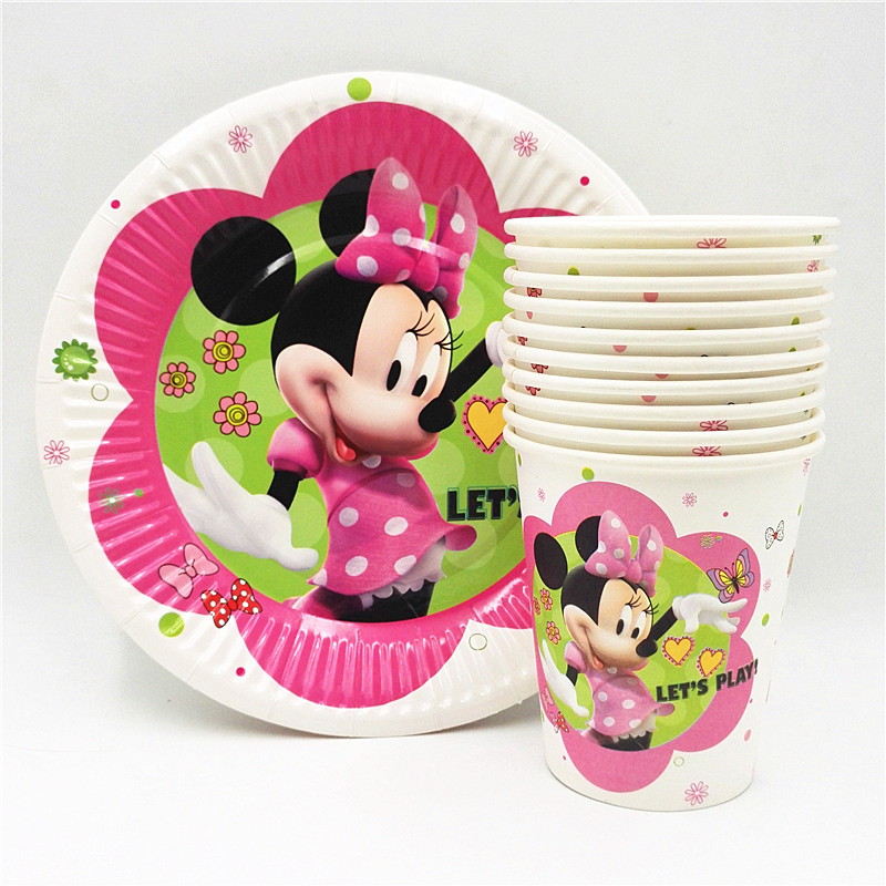 20pcs/set Plate/Cup Minnie Kids Birthday Decoration Party Supplies For Boys/Girls Minnie Mouse Party Supplies Party Favors20pcs/set Plate/Cup Minnie Kids Birthday Decoration Party Supplies For Boys/Girls Minnie Mouse Party Supplies Party Favors