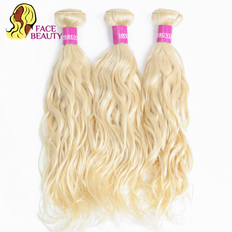 Facebeauty 613 Bleaching Color Blonde Malaysian Water Wave Bundles Hair Weave 1/3/4 Piece Remy Natural Human Hair Bundles Weft Human Hair Weaves Hair Extensions & Wigs