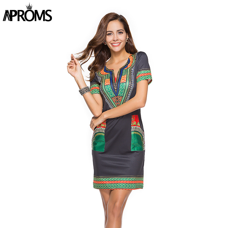 Aproms Sexy V Neck Pocket Patchwork Bodycon Tunic Dress Women Summer 2018 Robe African Print Dashiki Dresses Sundress Vestidos