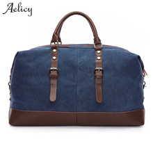 Luggage Bags - Luggage  - Aelicy 5 Colors Canvas Leather Men Travel Bags Large Capacity Men Duffle Bags Travel Tote Bags High Quality Luggage Bags 1011