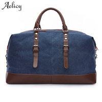 Aelicy 5 Colors Canvas Leather Men Travel Bags Large Capacity Men Duffle Bags Travel Tote Bags