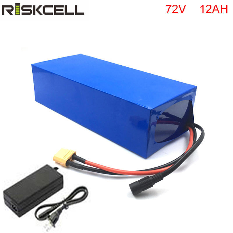 High C- Rate 72v ebike battery pack use 18650 cell 72 volt 12ah rechargeable ebike battery for eletronic bike with charger free shipping 4 8v battery pack 4500mah sc receiver battery pack 10c high rate battery pack