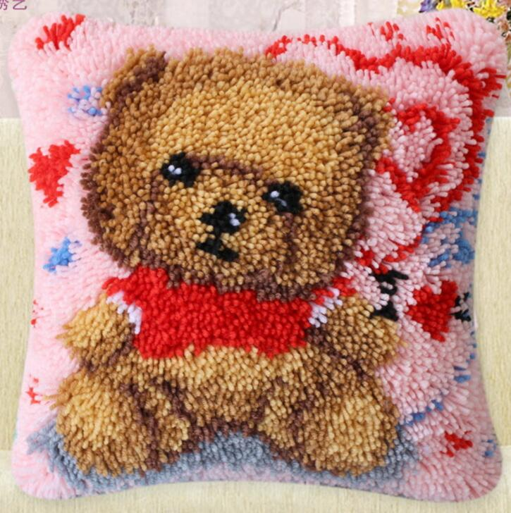 diy handkerchief knitted carpet unfinished pillow embroidery carpet free shipping Latch Hook Hold pillow animal Red holds bear