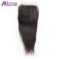 Allove Hair Straight Lace Closure 4 4 Free Middle Three Part Closure 100 Remy Human Hair