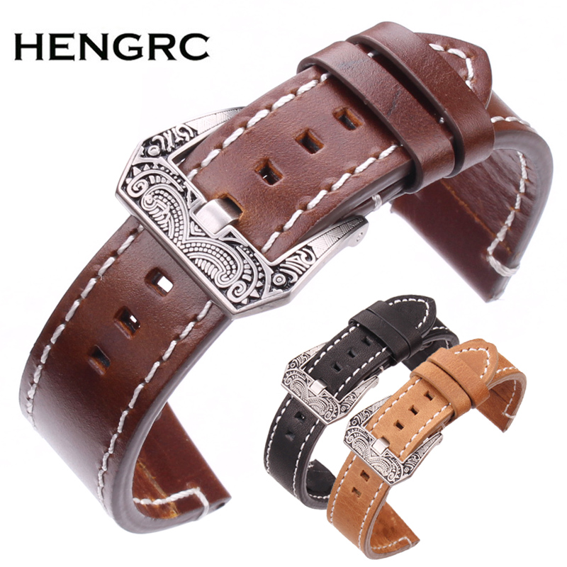HENGRC Genuine Cow Leather Vintage Watchbands Black Dark Brown Greased Leather Watch Band Strap With Stainless Steel Buckle