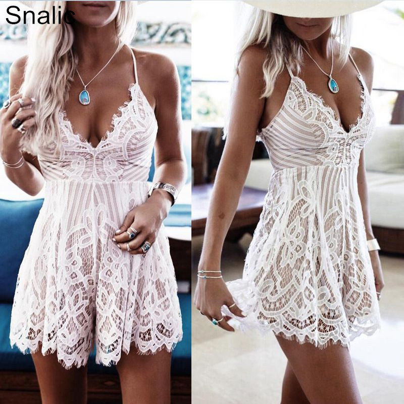 Snalic V-Neck Sexy Women Playsuit Spaghetti Strap Lace Floral Summer Playsuit Shorts Backless Beach Jumpsuit Rompers Vestidos