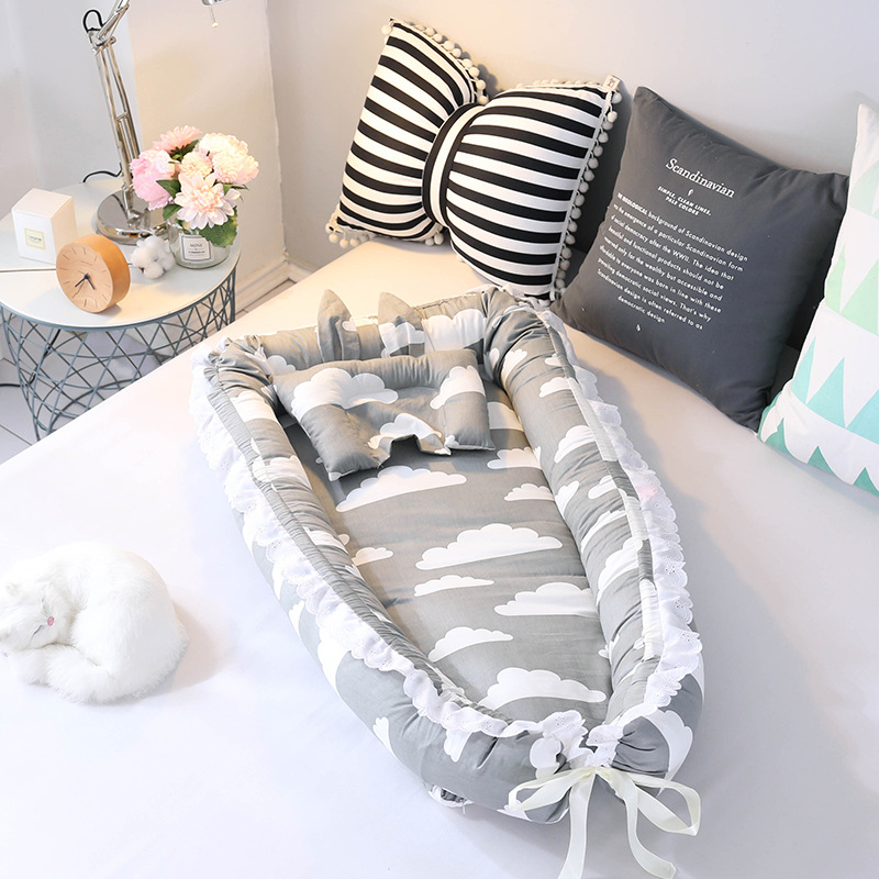 Baby Nest Bed travel crib baby bed Infant CO Sleeping Cotton Cradle Portable Snuggle 90 55cm