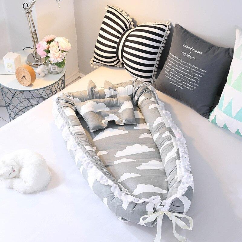 Bébé nid lit voyage berceau bébé lit infantile CO dormir coton berceau Portable blottir 90*55 cm nouveau-né bébé couffin BB artefact