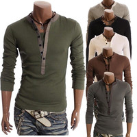 Spring And Autumn Faux Two Piece Male Casual Long Sleeve T Shirt Mens Long Sleeve Henley