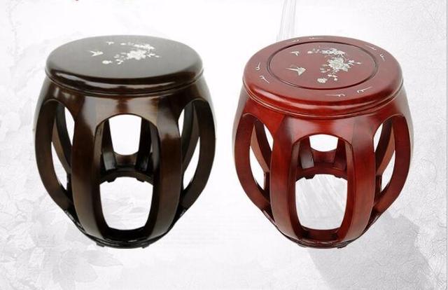 Stool Chair In Chinese Red Leather Counter Height Chairs Hand Wood Flower Painting Drum Furniture