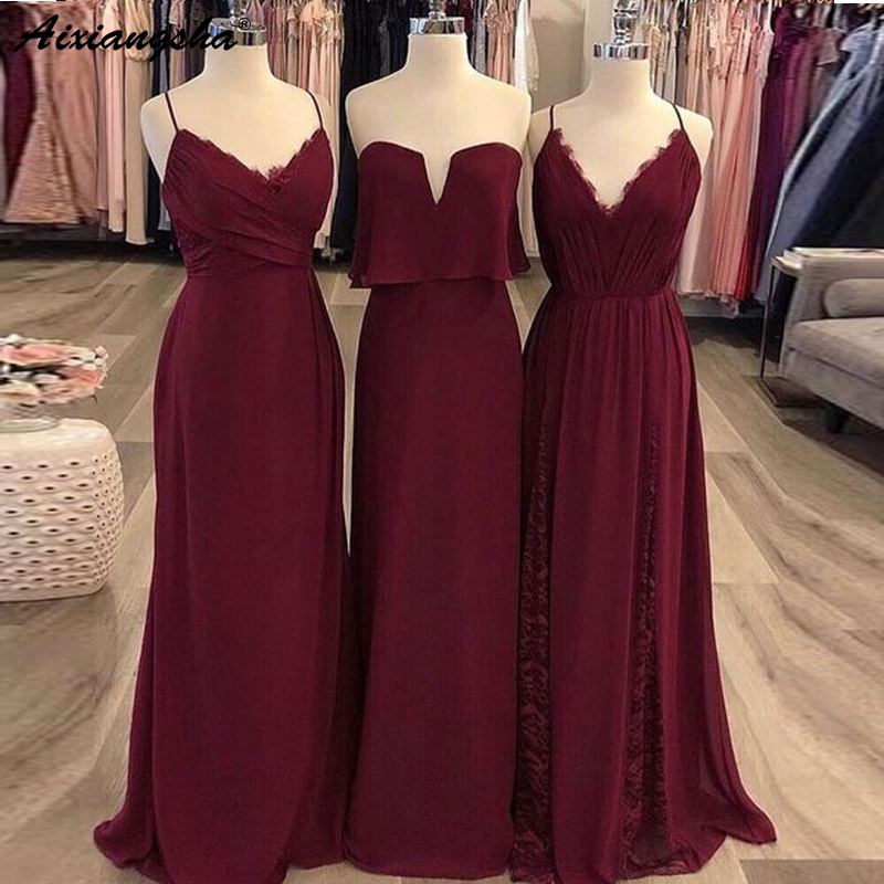 Elegant Spaghetti Straps Chiffon   bridesmaid     dress   Long   Dress   for Wedding Party for Woman burgundy   bridesmaid     dresses