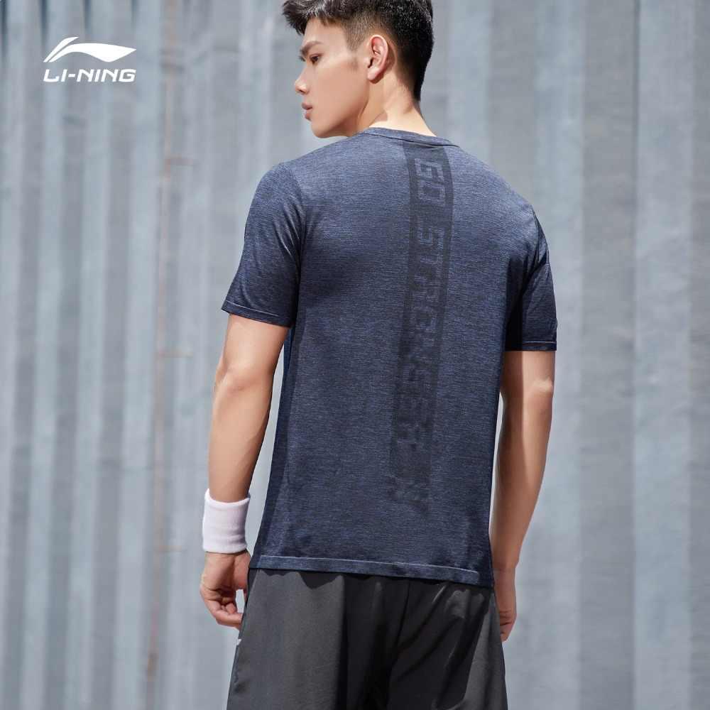 (Break Code) li-Ning Mannen Training Sport T-shirt Nylon Polyester Naadloze Ademende Voering Li Ning Sport Tee ATSP095 MTS3086