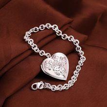 Fina del verano del estilo de plata chapada pulsera 925-sterling-silver flor de la joyería heart chain pulseras para para SB347