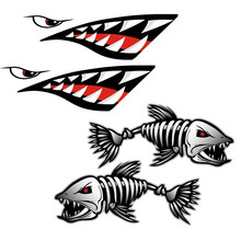 2 autocollants dents de requin bouche + 2 autocollants squelette poisson, autocollant Kayak canoë bateau de pêche