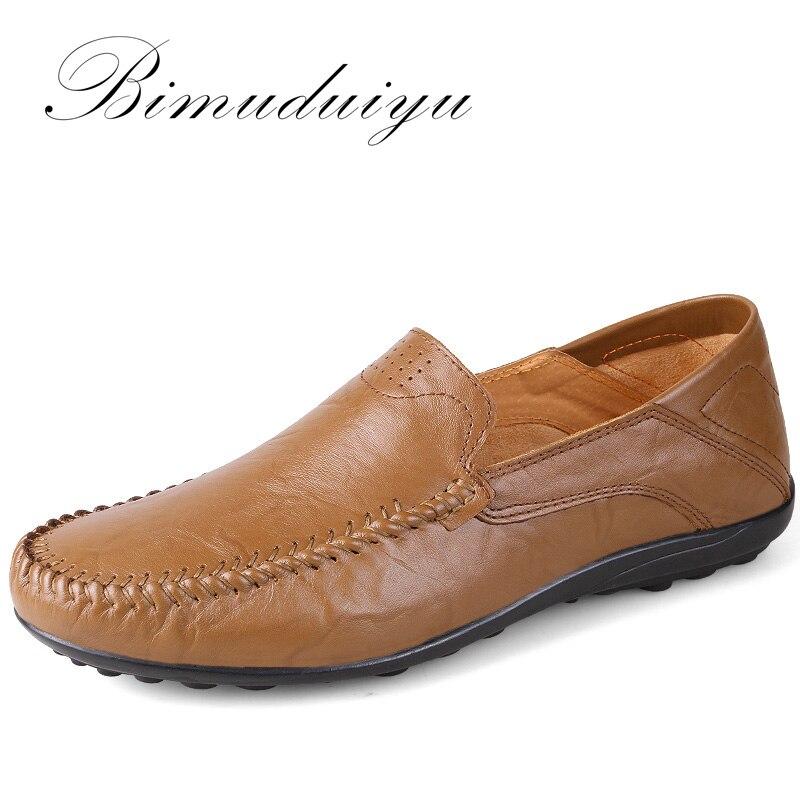BIMUDUIYU Hot Sale moda de lux de piele autentic piele naturală bărbați lumina casual respirabil pantofi Slip-on confortabil de conducere pantofi