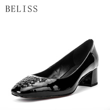BELISS 2019 spring autumn ladies patent leather pumps woman square toe women shoes med heels handmade for shallow D2