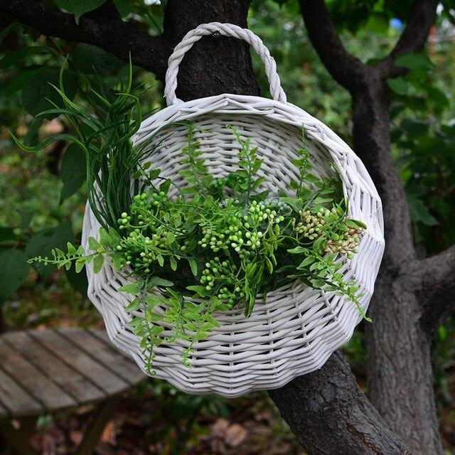 Us 199 Rośliny Ogrodowe Doniczki Do Kwiatów Sadzarki Wiszące Kosze Do Montażu Na ścianie Wiklina Wiszące Kosze Z Włókien Roślinnych Ręcznie Tkane