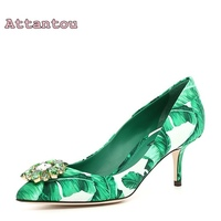 2017 Autumn High Heels Female Pointed Toe Shallow Diamond Shoes Green Banana Leaves Fashion Shoes Hot