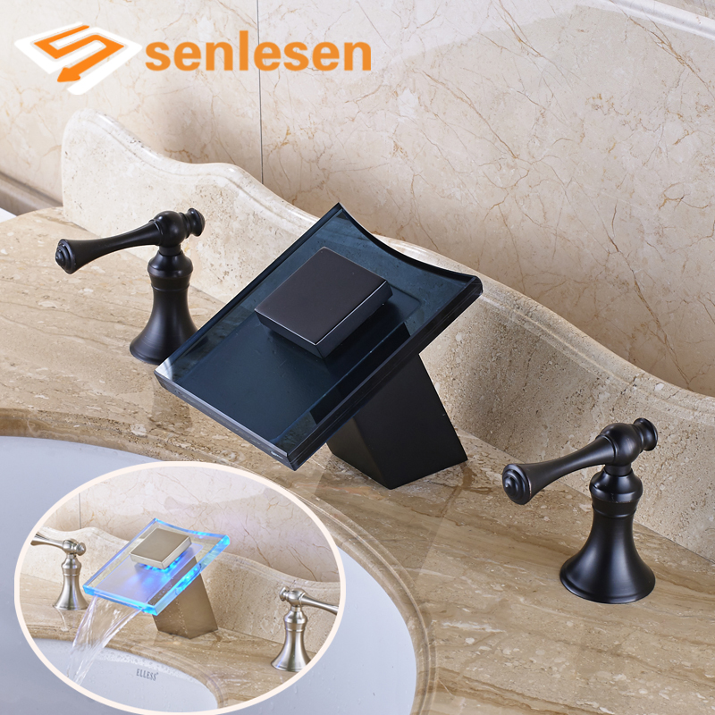 Waterfall Spout Oil Rubbed Bronze / Brushed Nickel Deck Mounted LED Light Bathroom Sink Faucet allen roth brinkley handsome oil rubbed bronze metal toothbrush holder