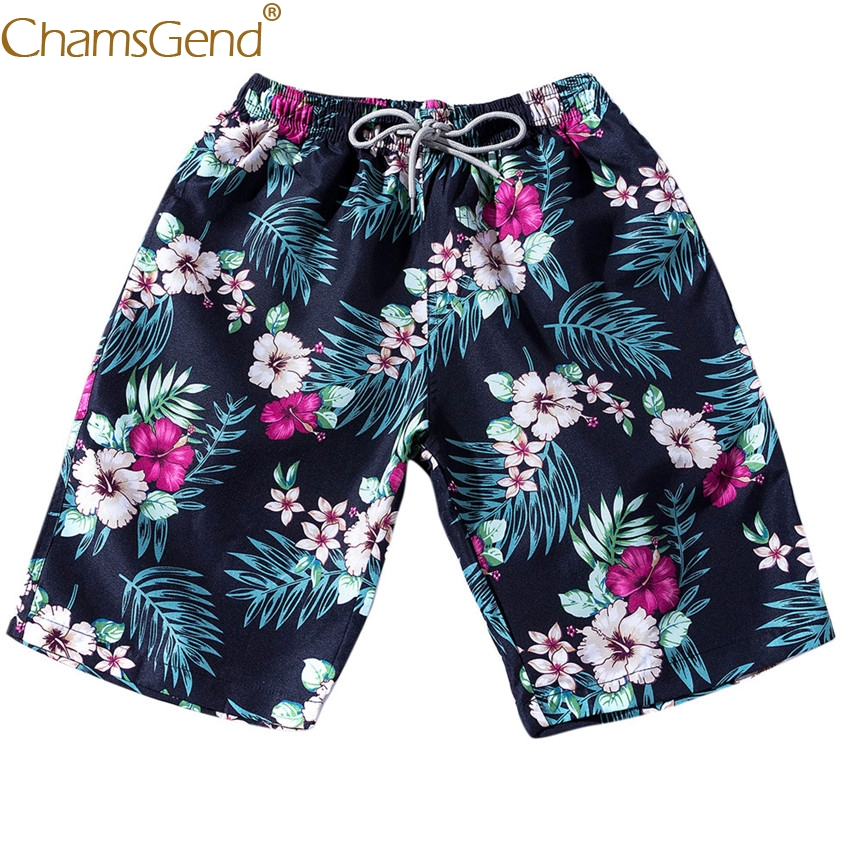 Men Women Couple Board Shorts Floral Leaf Print Beach Swimwear Trunks Pants For Holiday Traveling 80404