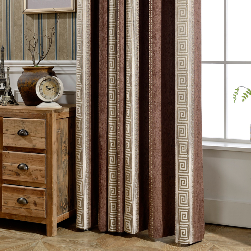 Custom curtains Elegant Chinese coffee color stripes embroidered thick chenille  drapes cloth blackout curtain tulle N358Custom curtains Elegant Chinese coffee color stripes embroidered thick chenille  drapes cloth blackout curtain tulle N358