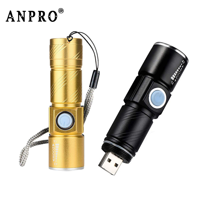 Anpro Mini USB LED Flashlight Rechargeable 3 Modes Zoomable LED Torch Bike Flash Light For Outdoor Camping Hiking Light