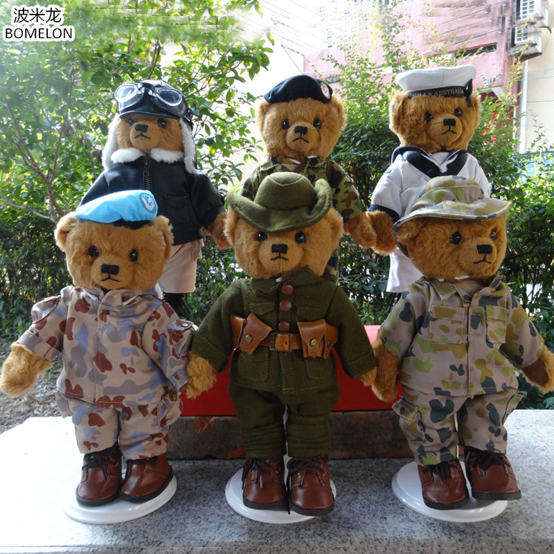High-quality Custom Made 30cm Army Uniform Teddy Bear Plush Dolls kawaii Plush Bear Soldier Stuffed Animals Plush Toys Boys Gift 2016 movie teddy bear ted 2 plush toys in apron soft stuffed animals plush 45cm