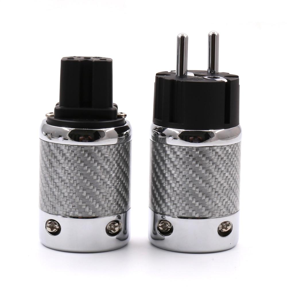 1pair Hifi Audio EU Schuko Rhodium Plated Carbon Fiber AC Power Plug for Diy power cable