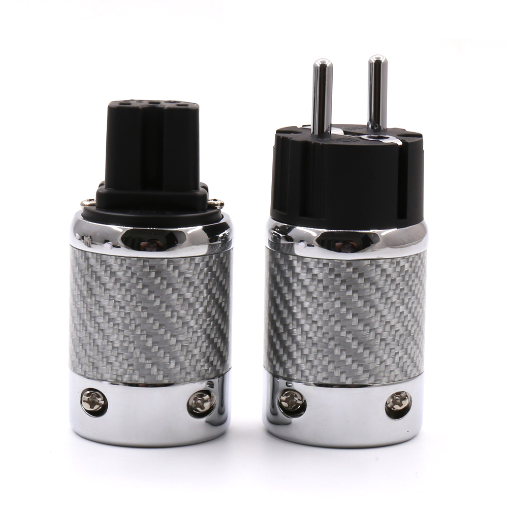 1pair Hifi Audio EU Schuko Rhodium Plated Carbon Fiber AC Power Plug for Diy power cable extension adapter hifi audio diy power cable alpha series fp 3ts20 alpha occ and eu rhodium pure cupper schuko plug iec electrical