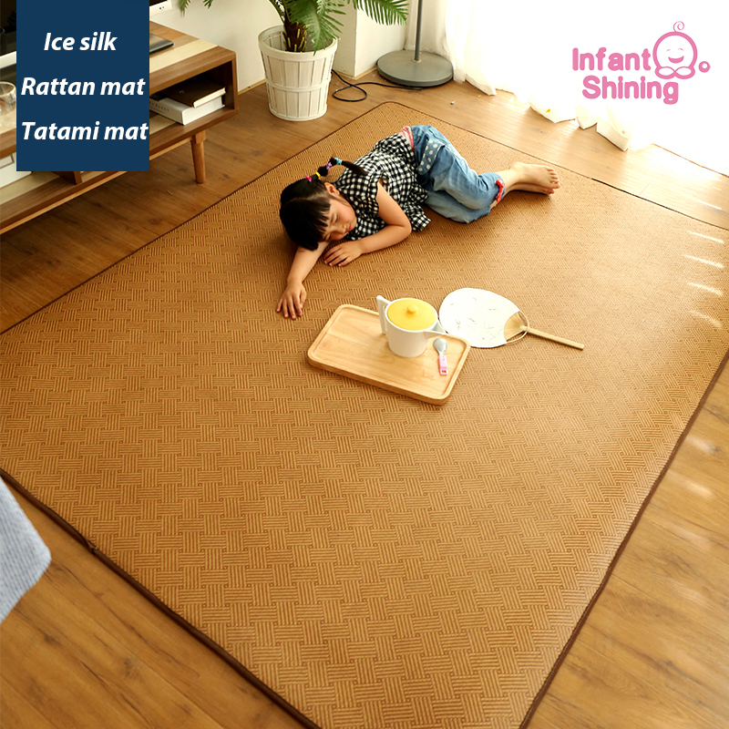 Infant Shining Summer Japanese-style Rattan Tatami Mat Carpet Living Room Bedroom Baby Mat Children Thickened Rattan Seats