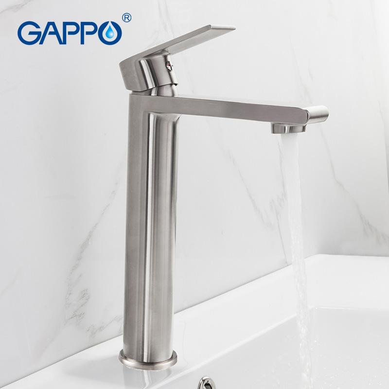 GAPPO Stainless Steel Basin Faucet Tall Basin Mixer Tap Bathroom Cold And Hot Water Faucet Mixer Water Sink