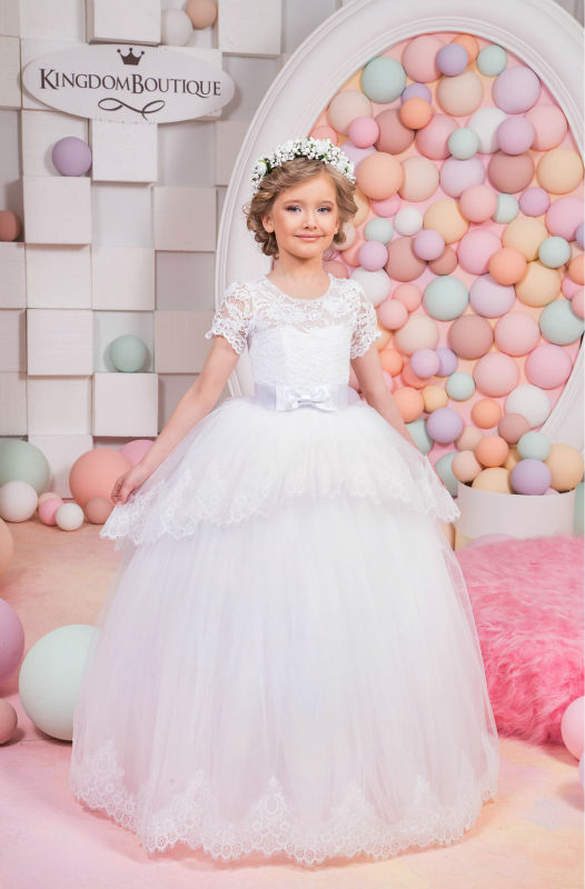 2017 New   Flower Girls Dresses For Wedding Gown Ball Gown Kids Beauty Pageant Dresses  Ankle-Length Communion Dresses