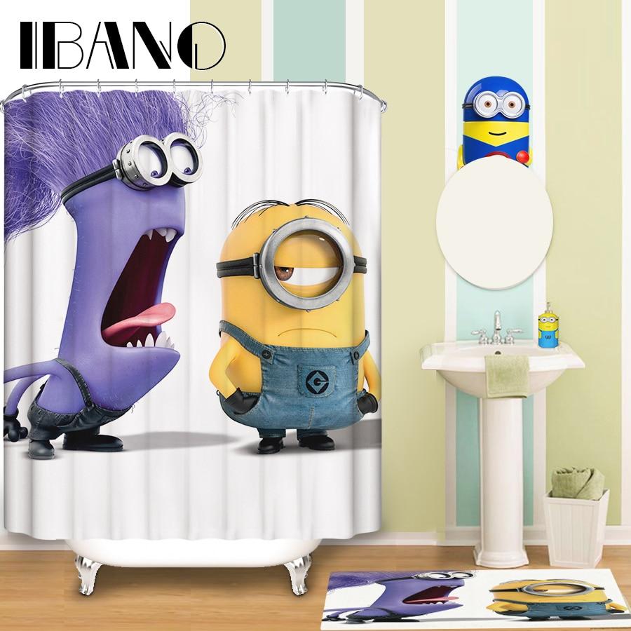 "Cartoon Minion Pattern Waterproof Fabric Shower Curtain Bathroom Curtain 70/"""