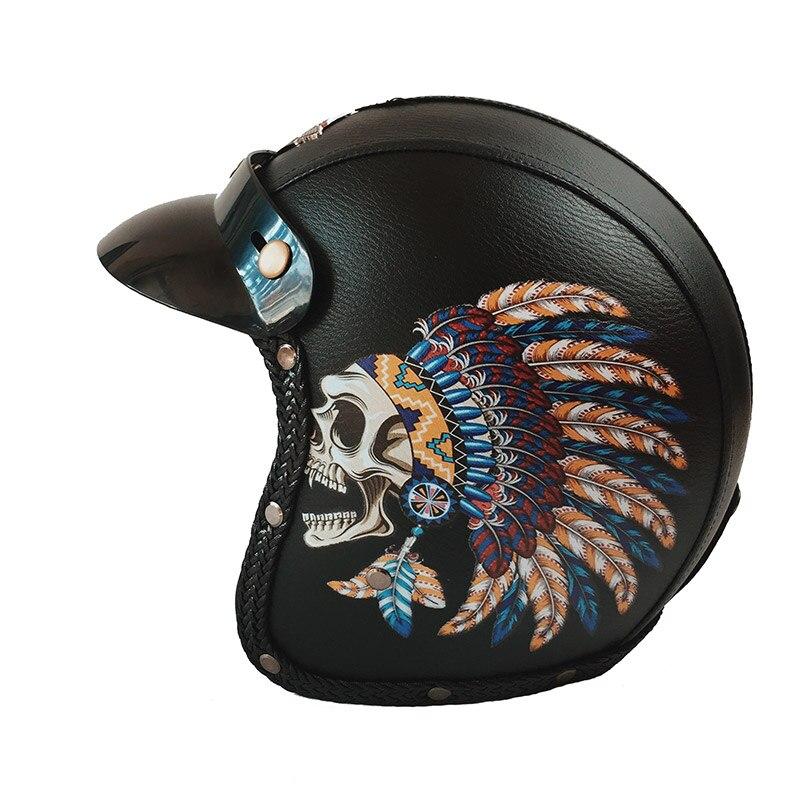 VCOROS masque de crâne PU cuir moto rcycle casques vintage 3/4 visage ouvert rétro casque demi-visage scooter casque moto Dot approuvé