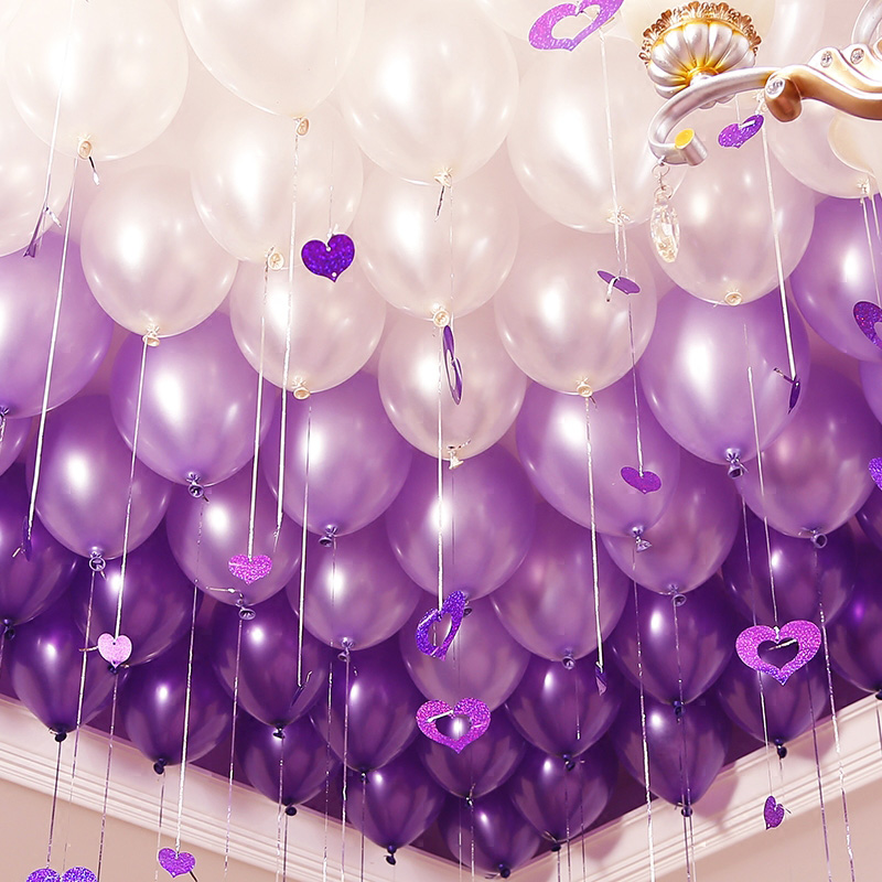Latex Balloons Ball Wedding Decorations baloons Beads Air Balloon Birthday  Purple White Wedding Air Balls Ballons S12XZ