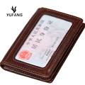 YUFANG Credit Card Holder Men Genuine Leather Change Purse Fashion Coin Wallet Money Bank ID Card Holder Vintage style
