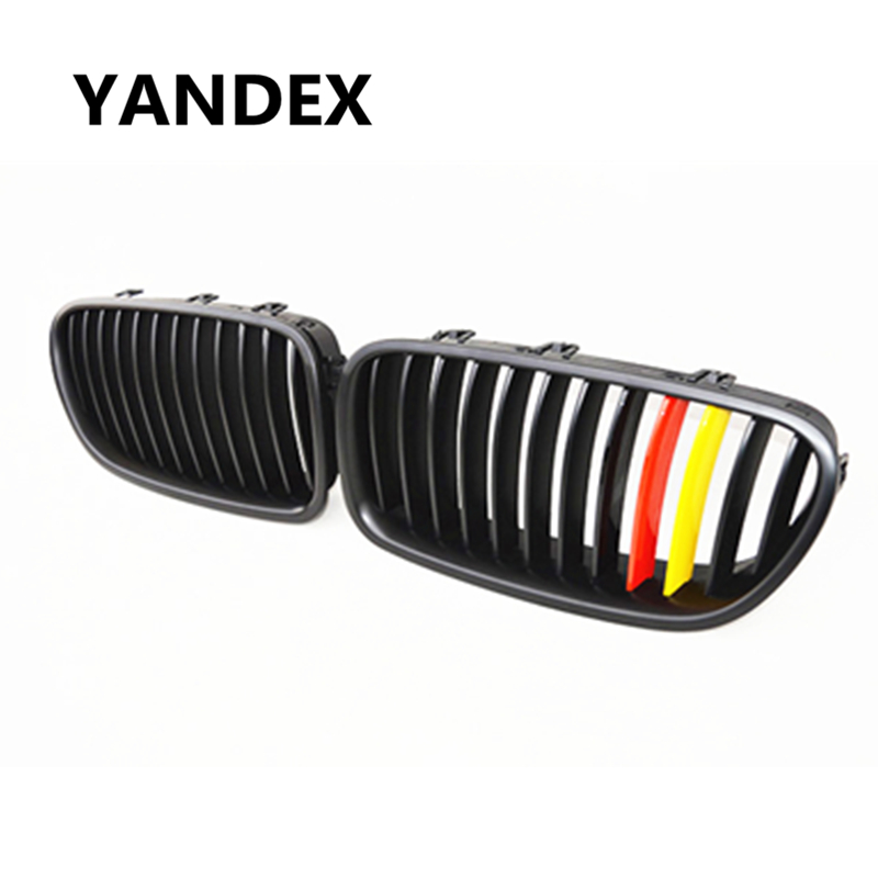 YANDEX 5 Series F10 F11 German flag type Racing Grill Matt Black Grille for BMW 2010 + 523i 528i 535i 550i 520d 525d 530d 535d wljh 19x white canbus dome footwell trunk lighting bulb led car interior light kit for bmw f10 5 series 2010 550i 535i 528i m5