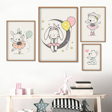 Cartoon Rabbit Bear Moon Star Balloon Nordic Posters And Prints Wall Art Canvas Painting Pictures Kids Room Girl Decor