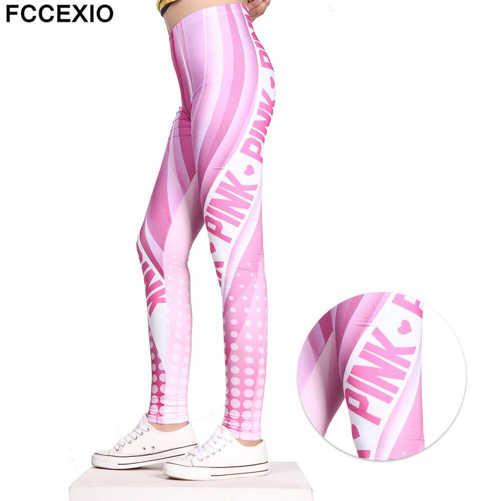 FCCEXIO Fashion Women Leggings Pink Letter VS Love Printed Leggins Fitness legging Slim Trousers High waist Woman Pink Pants