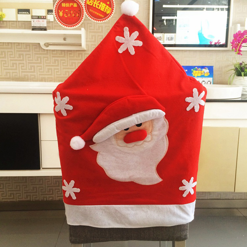 Hot 1pc Cute Santa Claus Snowman Elk Chair Back Cover Seat Christmas Decoration Dinner Kitchen