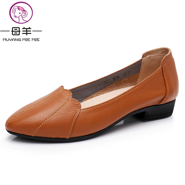 MUYANG MIE MIE Women Shoes Woman Genuine Leather Flat Shoes Female Casual Work Ballet Flats Women Flats Larger size ladies shoes 1
