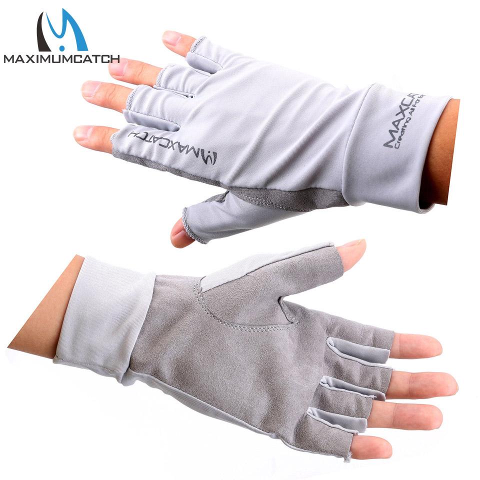 Maximumcatch Fishing Gloves Size L/XL Fly Fishing Anti-UV Sun Protection Half Finger 50+ UPF Outdoor