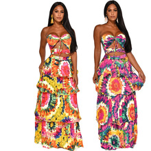 Causey 2019 Summer Sexy Lotus Leaf Edge Dress Sleeveless Printed Chest Long Maxi Dress Beach Leisure Cake Dress