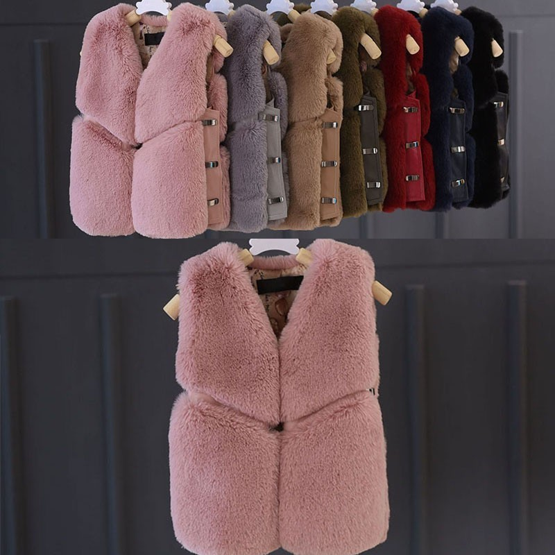 Christmas faux fox fur autumn winter girl vest thick baby vest fur toddler children clothing red pink black green blue jackets наушники black fox bhe 517 pink
