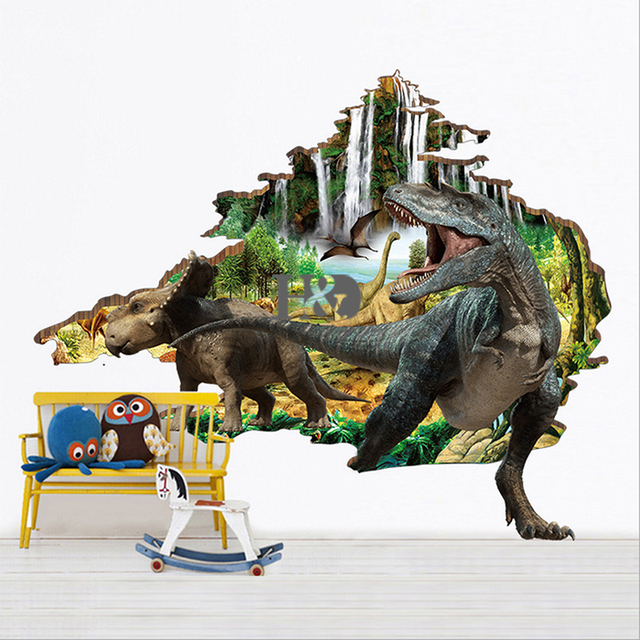 PVC 3D Dinosaur Primeval Forest Wall Stickers Window Car Ornament Home Bathroom  Decor Accessories Child Love