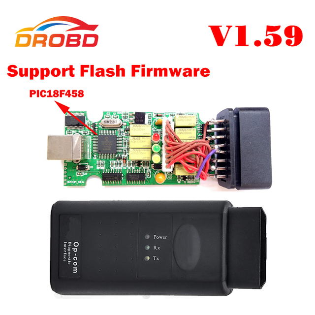 V1.59 Version OP COM Auto Diagnostic Tool OBD2 Scanner with Real PIC18F458 Chip OP-COM/OPCOM for Opel Support Flash Firmware